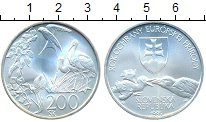 Изображение Монеты Словакия 200 крон 1995 Серебро UNC Год охраны европейск