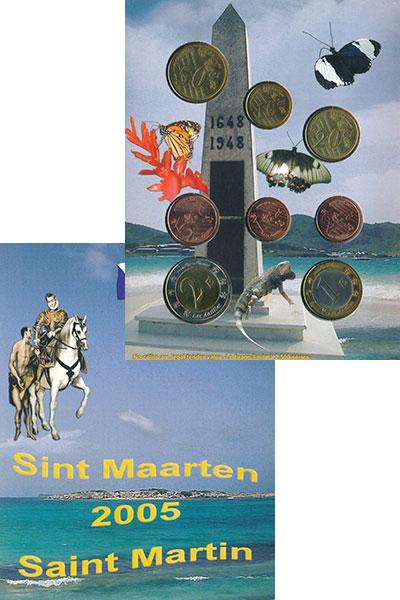 Изображение Подарочные монеты Северная Америка Святой Мартин Набор пробных евро 2005  UNC