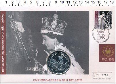 Изображение Монеты Виргинские острова 1 доллар 2003 Медно-никель UNC Золотой юбилей корон