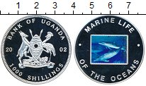 Изображение Монеты Уганда 1000 шиллингов 2002 Медно-никель Proof- Защита морской жизни