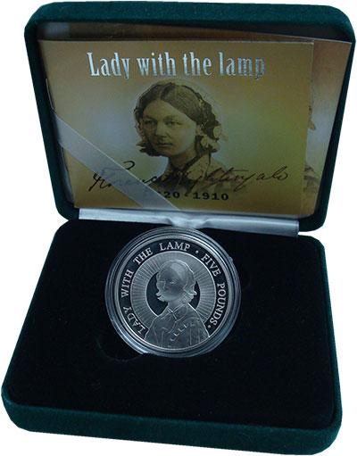 Изображение Подарочные монеты Олдерни 5 фунтов 2004 Серебро Proof