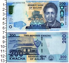 Изображение Банкноты Малави 200 квач 2016  UNC
