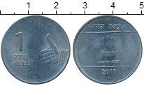 Изображение Монеты Индия 1 рупия 2010 Сталь UNC-
