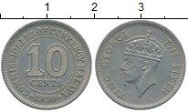 Изображение Монеты Малайя 10 центов 1950 Медно-никель XF Георг VI