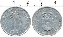 Изображение Монеты Бельгийское Конго 1 франк 1960 Алюминий VF Пальма