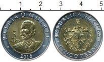 Изображение Монеты Куба 5 песо 2016 Биметалл UNC