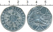 Изображение Монеты Австрия 5 евро 2005 Серебро UNC 100 лет лыжному спор