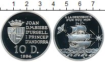 Изображение Монеты Андорра 10 динерс 1994 Серебро Proof- Парусник