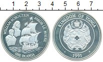 Изображение Монеты Тонга 1 паанга 1991 Серебро Proof- Корабль