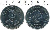 Изображение Монеты Карибы 2 доллара 1993 Медно-никель UNC- 10 лет Национальному