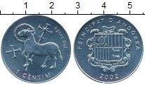 Изображение Монеты Андорра 1 сентим 2002 Алюминий UNC-