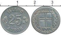 Изображение Монеты Исландия 25 аурар 1951 Медно-никель XF
