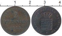 Изображение Монеты Саксен-Майнинген 2 пфеннига 1863 Медь XF