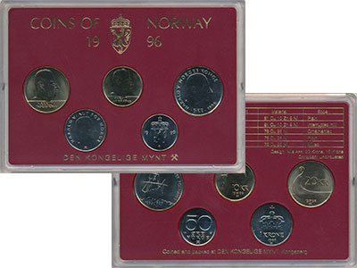 Изображение Подарочные монеты Европа Норвегия Набор 1996 года 1996  UNC