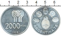Изображение Монеты Аргентина 2000 песо 1978 Серебро UNC- Чемпионат Мира по фу