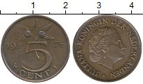 Изображение Монеты Нидерланды 5 центов 1978 Медно-никель XF Юлиана