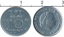 Изображение Монеты Нидерланды 10 центов 1959 Медно-никель XF Юлиана