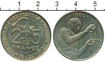 Изображение Монеты Западная Африка 25 франков 1980 Латунь XF Золотая гиря народа
