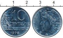 Изображение Монеты Бразилия 10 сентаво 1978 Медно-никель UNC-