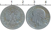Изображение Монеты Польша 2 злотых 1933 Серебро VF+