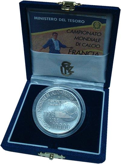 Изображение Подарочные монеты Италия 10000 лир 1998 Серебро UNC
