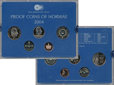 Изображение Подарочные монеты Норвегия Набор 2004 года 2004  Proof