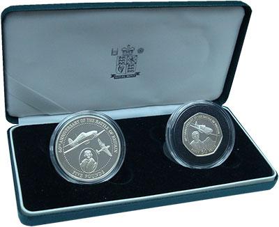 Изображение Подарочные монеты Великобритания Гернси 60лет битвы за Британию 2000 Серебро Proof