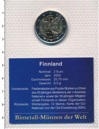 Изображение Монеты Европа Финляндия 2 евро 2005 Биметалл UNC