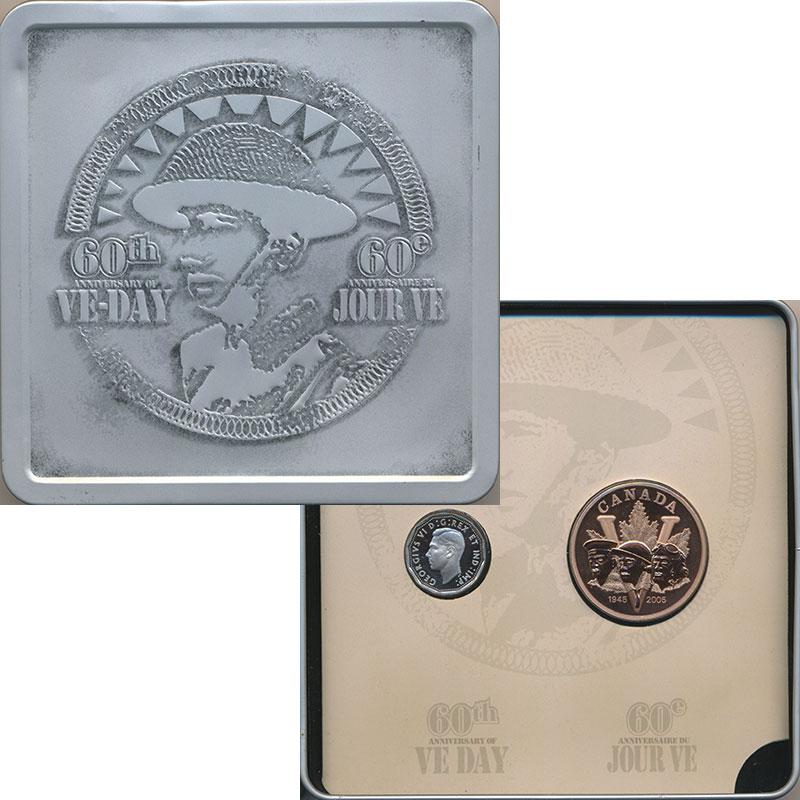 Изображение Подарочные монеты Северная Америка Канада 60 лет победы в Второй Мировой Войне 2005 Серебро Proof