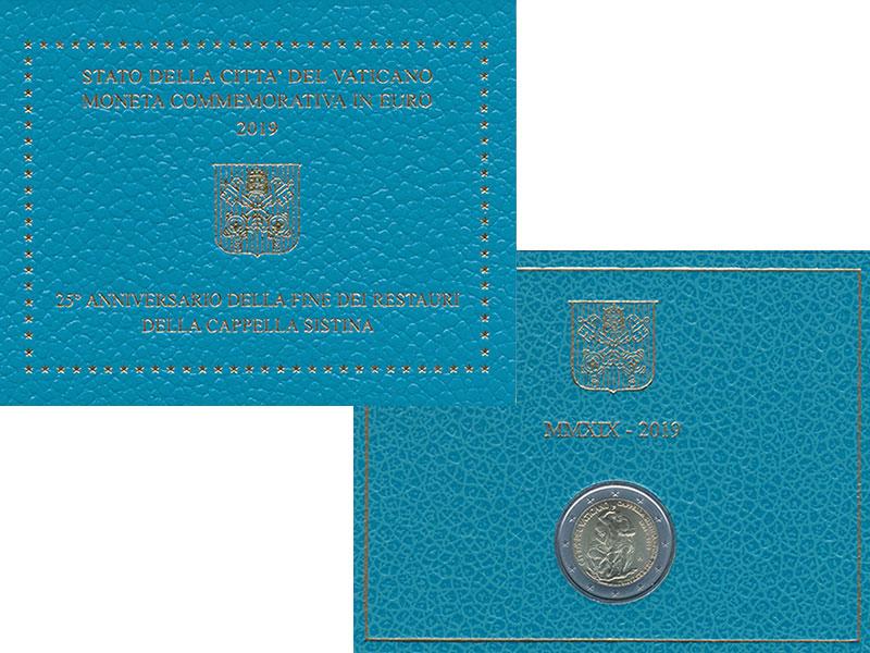 Изображение Подарочные монеты Ватикан 2 евро 2019 Биметалл UNC