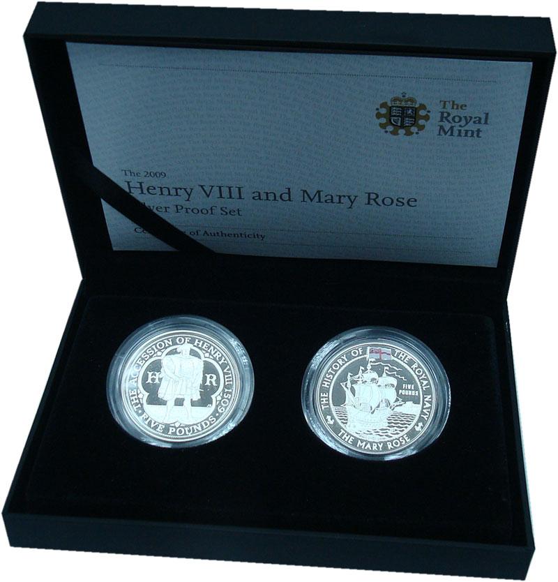 Изображение Подарочные монеты Европа Великобритания Генрих VIII и Мэри Роуз 2009 Серебро Proof