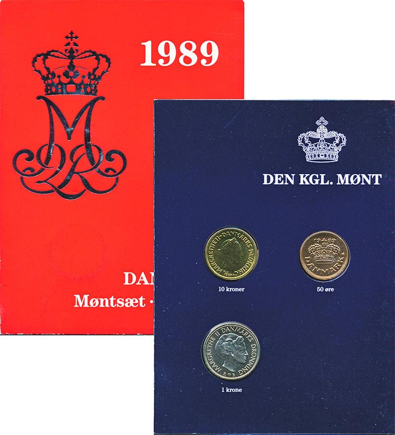 Изображение Подарочные монеты Дания Набор 1989 года 1989  UNC