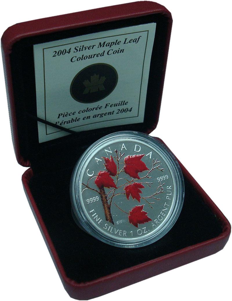 Изображение Подарочные монеты Северная Америка Канада 5 долларов 2004 Серебро UNC