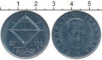 Изображение Дешевые монеты Италия 100 лир 1974 нержавеющая сталь VF+ 100 лет со дня рожде