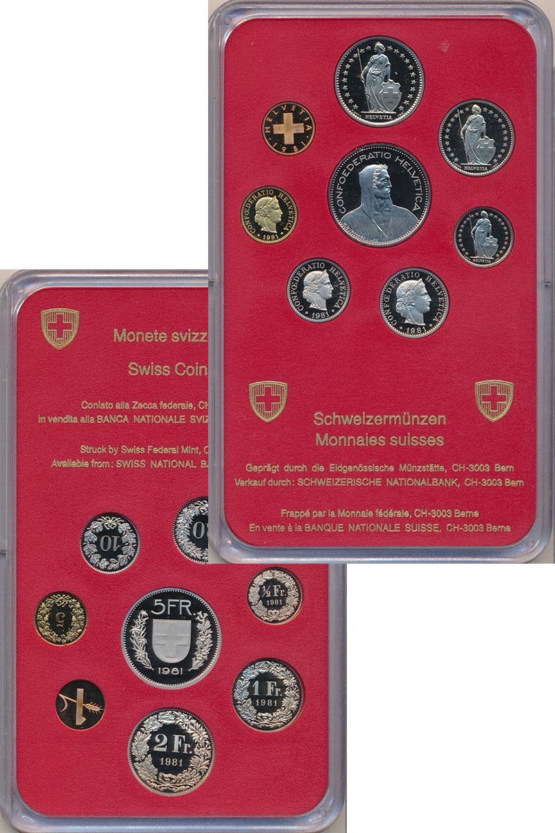 Изображение Подарочные монеты Европа Швейцария Набор 1981 года 1981  Proof