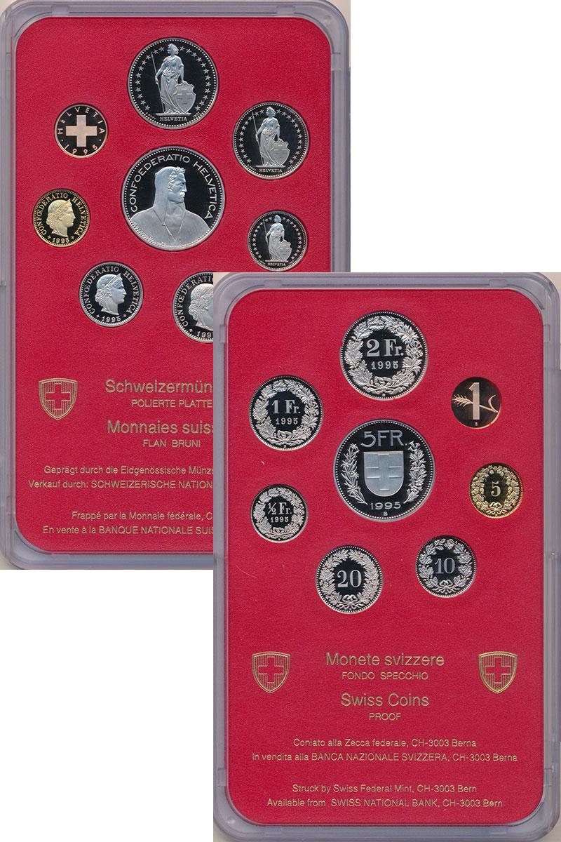 Изображение Подарочные монеты Европа Швейцария Набор 1995 года 1995  Proof