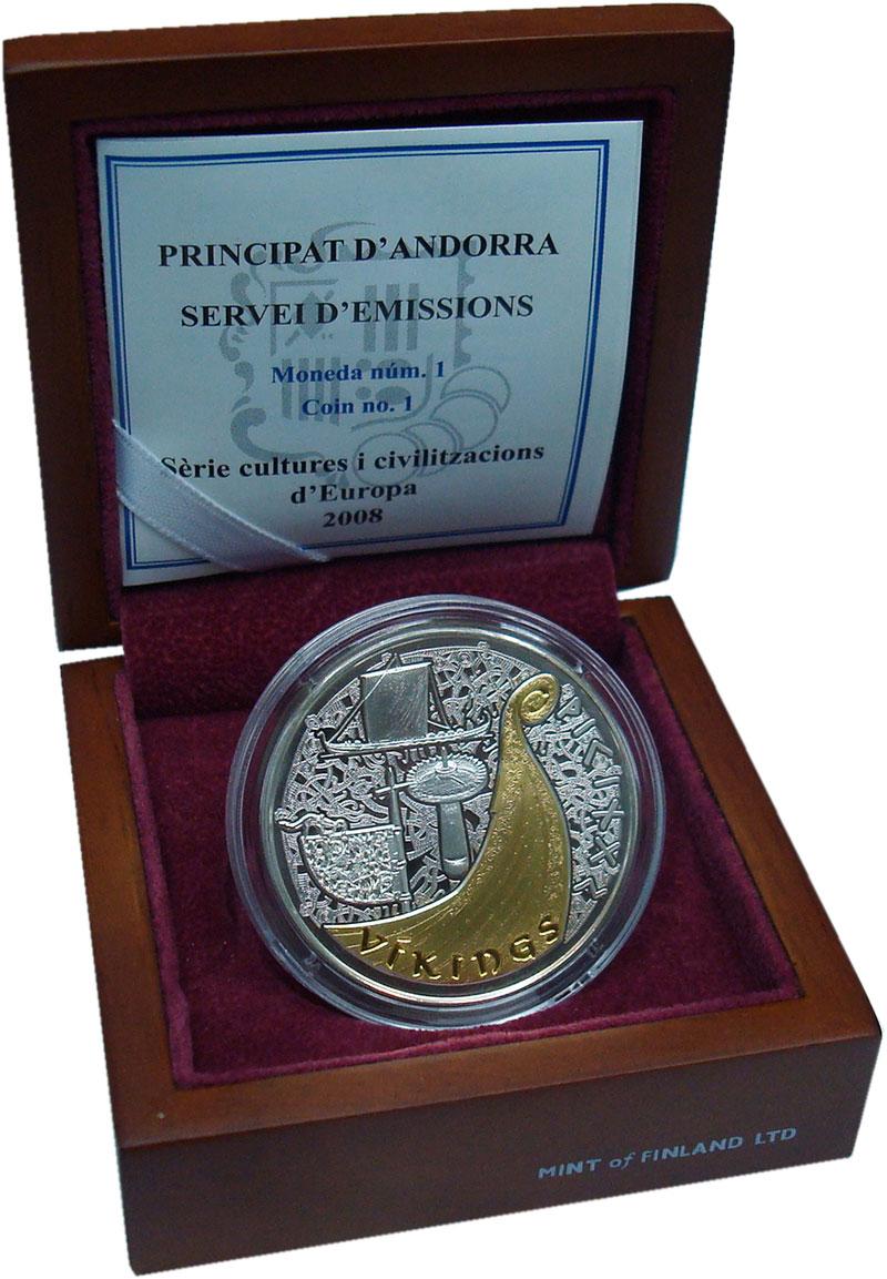 Изображение Подарочные монеты Андорра 10 динерс 2008 Серебро UNC