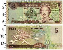 Изображение Банкноты Фиджи 5 долларов 0  UNC Портрет королевы Ели