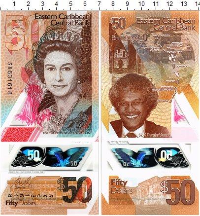 Изображение Банкноты Карибы 50 долларов 2019 Пластик UNC