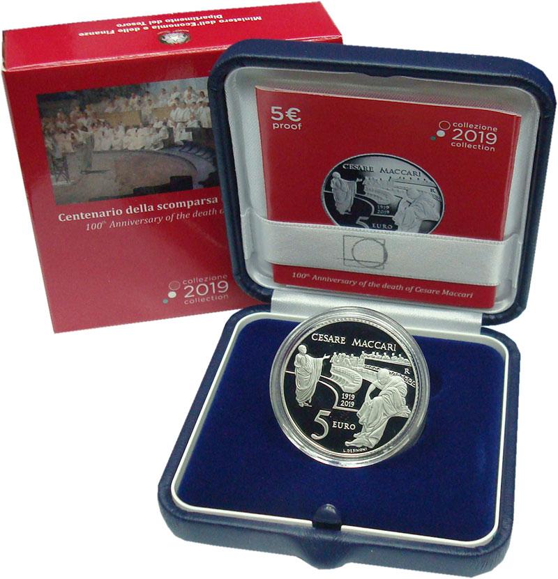 Изображение Подарочные монеты Италия 5 евро 2019 Серебро Proof