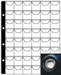 Изображение Аксессуары для монет С клапанами Лист российский на 48 ячеек с люверсами (формата Optima) 0