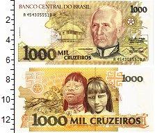 Изображение Банкноты Бразилия 1000 крузейро 1990  UNC Рондон. Дети абориге