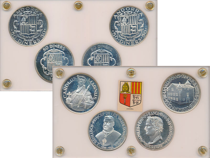 Изображение Подарочные монеты Европа Андорра 50 динерс 0 Серебро Proof-