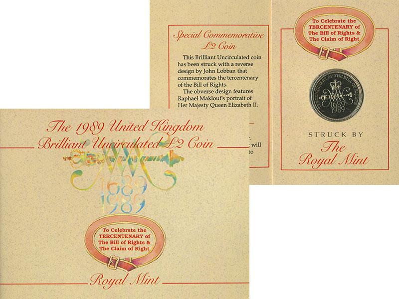 Изображение Подарочные монеты Европа Великобритания 2 фунта 1989 Латунь UNC