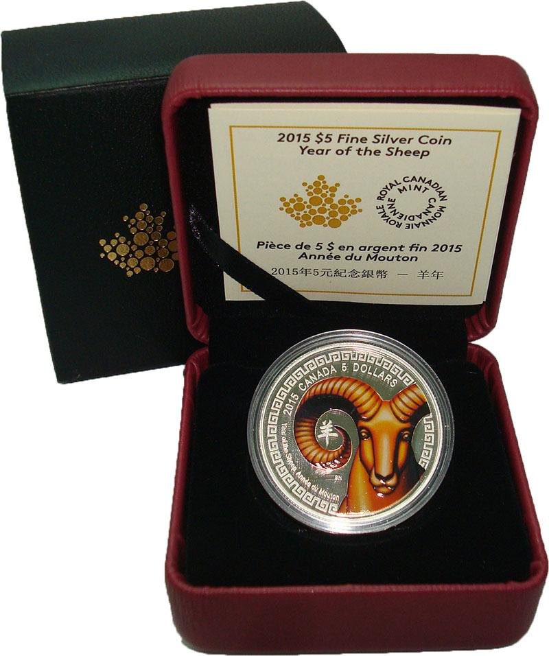 Изображение Подарочные монеты Северная Америка Канада 5 долларов 2015 Серебро Proof