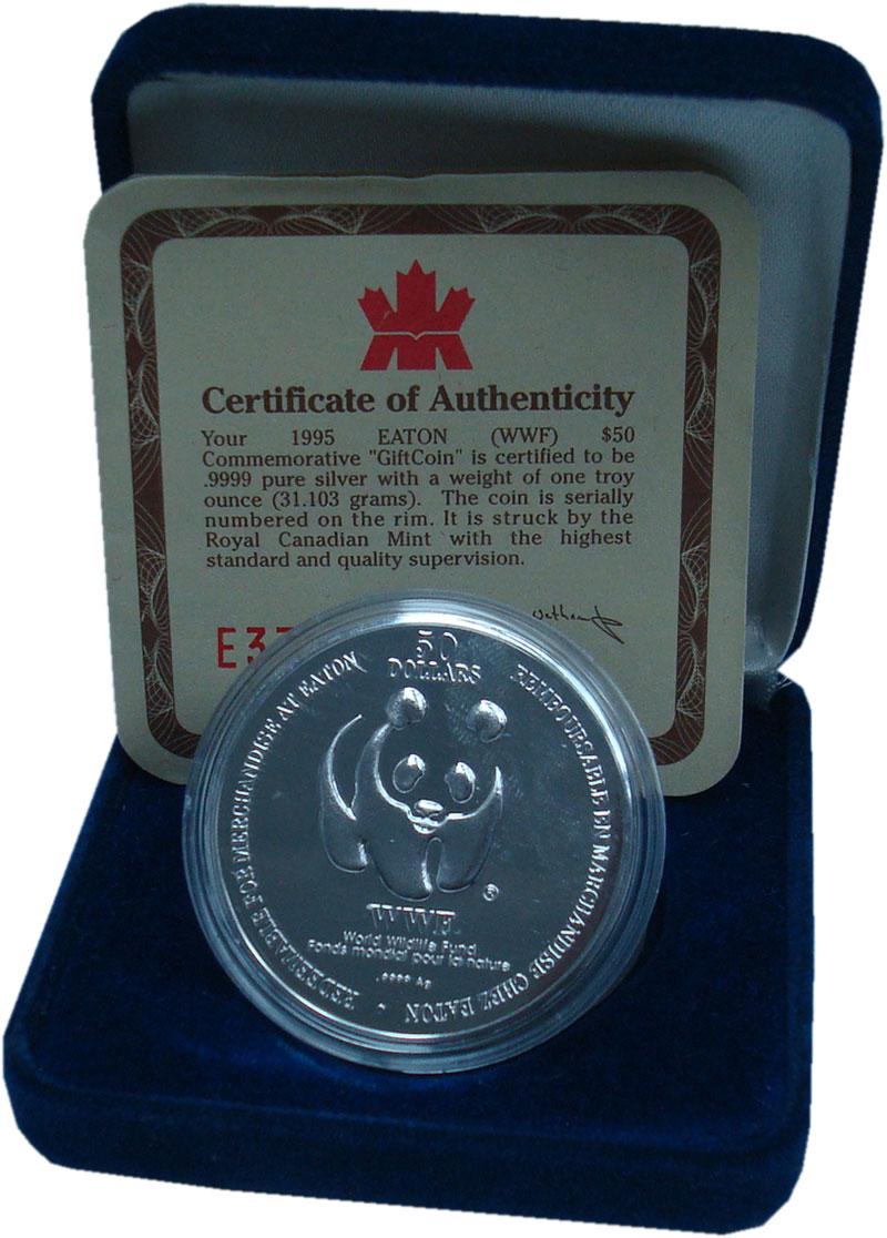 Изображение Подарочные монеты Канада 50 долларов 1995 Серебро UNC