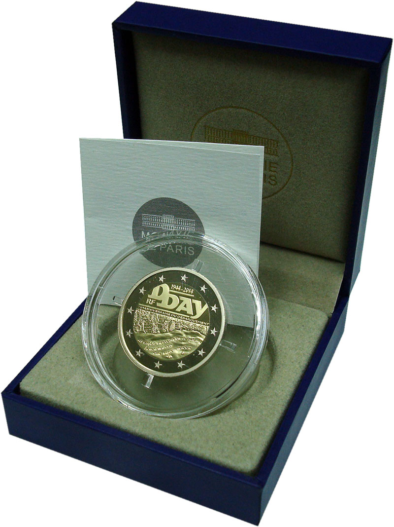 Изображение Подарочные монеты Европа Франция 2 евро 2014 Биметалл Proof
