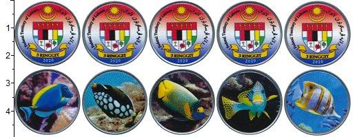 Изображение Наборы монет Малайзия 3 ринггита 2020 Медно-никель UNC