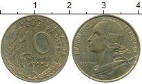 Изображение Дешевые монеты Франция 10 сентим 1996 Латунь XF-