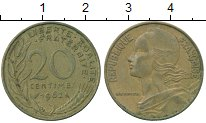 Изображение Дешевые монеты Франция 20 сентим 1962 Латунь VF+